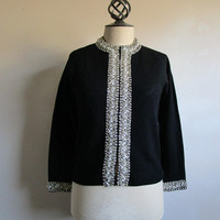 Vintage 50s Beaded Cardigan Black Wool 1950s Knitted Jumper with Opal White Clear Rhinestones Beads Small