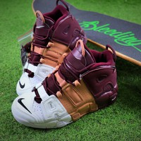 Nike Air More Uptempo OG Basketball Shoes Wine Red Yellow White Sneaker - Best Online Sale