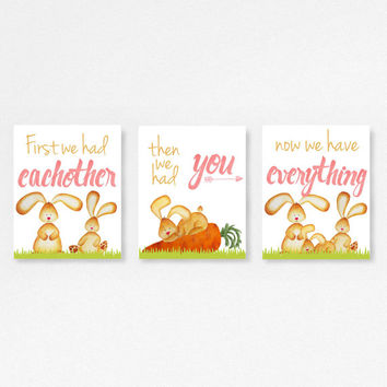 Canvas Nursery set, First we had eachother, Baby animals, Baby shower gift Bunny Picture, Babies room, bunny print kids, Watercolor prints