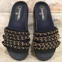 Chanel Casual Sandal Slipper Shoes Flip Chain Slippers Black