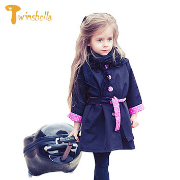 TWINSBELLA Girls Trench Coat Winter Kids Long Sleeve Button Polka Parka Belt Jacket Children Bowknot Autumn Outwear For Girls