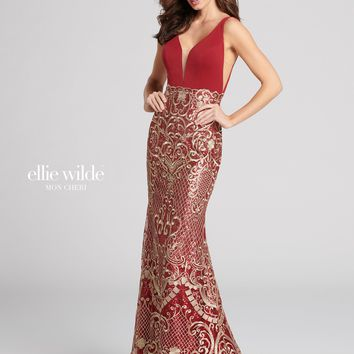 Ellie Wilde EW21820- Wine/Gold