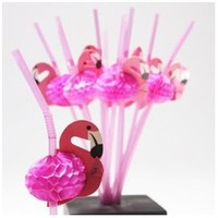 Fun Express Tissue Flamingo Straws - 12 Pieces