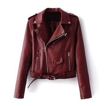 Trendy 2017 Autumn Women Basic Coats Fashion PU Faux Leather Bomber Jacket Coat Zipper Belt Long Sleeves Basic Moto Jacket Outerwear AT_94_13