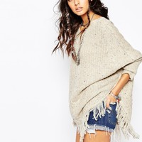 Sunshine Soul Boho Oversized Poncho Jumper With V-Neck & Tassel Details