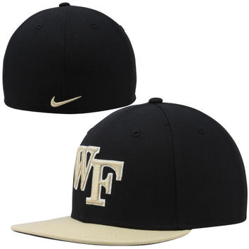 Nike Wake Forest Demon Deacons True Colors Authentic Performance Fitted Hat - Black/Gold