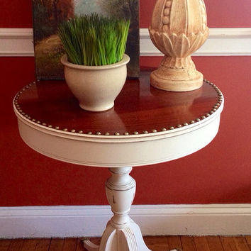 Vintage Duncan Phyfe Side Table Hand Painted Distressed Farmhouse Style