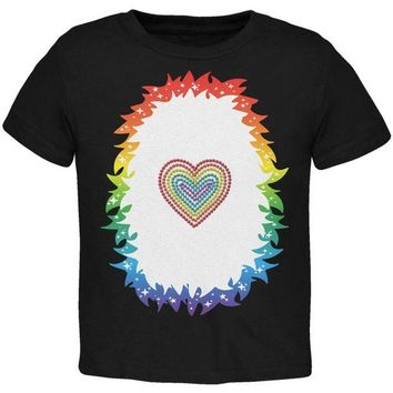 DCCKJY1 Halloween Rainbow Heart Unicorn Costume Pony Toddler T Shirt