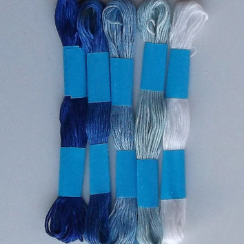 Embroidery Floss Threads, Five Shades of Blue