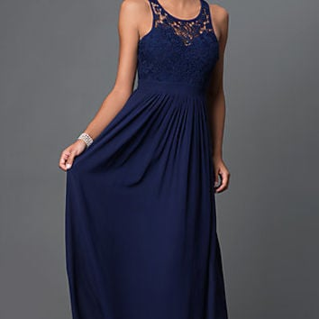 Floor Length Scoop Neck Lace Bodice Dress