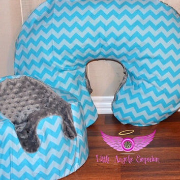 Blue Chevron and Gray Bumbo Seat Cover and Boppy Cover Set