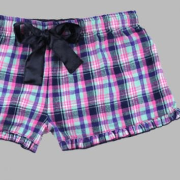 Malibu Plaid VIP Bitty Boxer with Ruffled Hem.  100% Cotton Flannel.  XS-XL.
