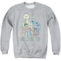 SESAME STREET/COLORFUL GROUP-ADULT CREWNECK SWEATSHIRT-ATHLETIC HEATHER