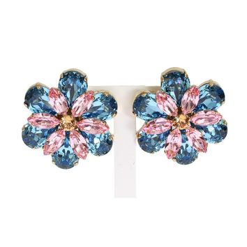 Dolce & Gabbana Blue Pink Crystal Floral Earrings