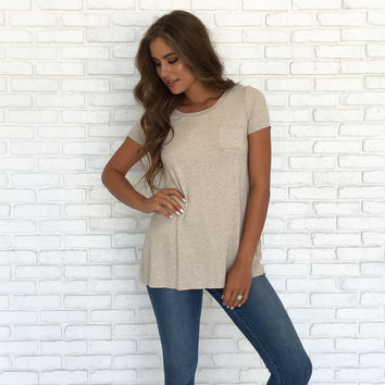 See You Later Pocket Tunic Top In Oatmeal