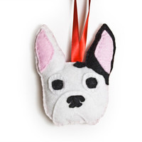 Boston Terrier Personalized Ornament by Sklep on Etsy, Custom Felt Holiday Home Decor Gift Dog Pet Memorial