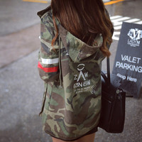Jacket Women 2016 New Arrival Female Army Green Printed Camouflage Jacket Chaquetas Mujer Fall Jackets For Women Coat B3981