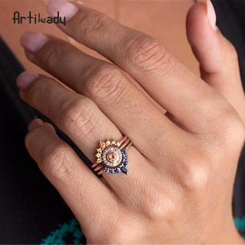Rose gold color flower component Crystal ring set  rings for women