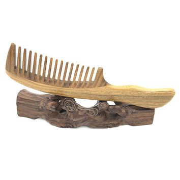 Natural Green Sandalwood Super Wide-Toothed Comb Wooden Massager HairBrush Hair Care Styling Tools L-K991