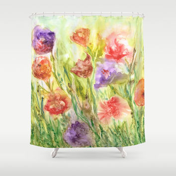Summer Flowers Shower Curtain by Rosie Brown | Society6