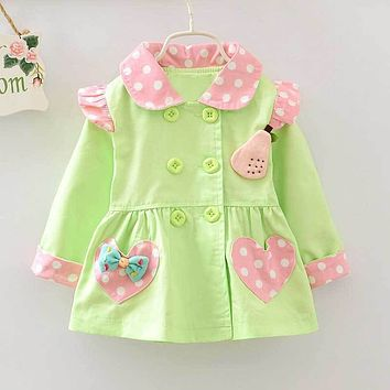 Fashion S Autumn Girls Double Breasted CardiganBaby kids Bow Dot Polka Princess Coat Children Outwear Coats Trench S2034