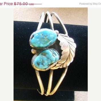 ON SALE Vintage turquoise bracelet native american sterling cuff style
