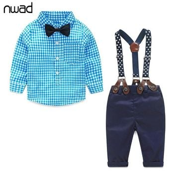 NWAD Baby Boy Clothes Long Sleeve Newborn Baby Sets Infant Clothing Gentleman Suit Plaid Shirt+Bow Tie+Suspender Trousers FF032+