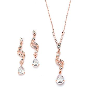 14K Rose Gold Bridal Earrings and Necklace Set