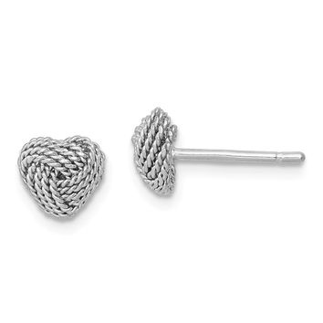 925 Sterling Silver Rhodium-plated Rope Heart Knot Post Earrings