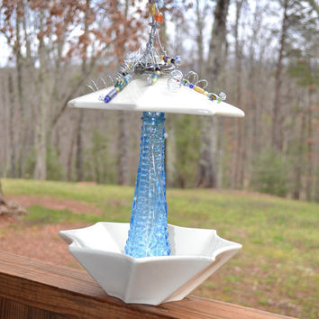 Upcycled Bird Feeder Shabby Chic  Blue White Glass Ceramic Recycle