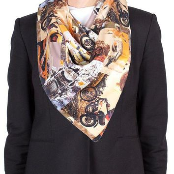 DCCK3SY Versace 'Evil Knievel' Pattern Silk Scarf
