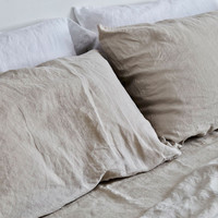 Smoke Grey Linen Bed Set