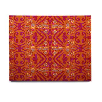 "Miranda Mol ""Ornamental Lace Orange"" Orange Pink Pattern Damask Mixed Media Digital Birchwood Wall Art"