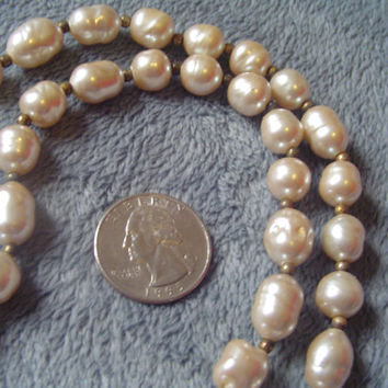 "Unusual Vintage Necklace 34"" Weathered Pearlescent Glass Beads of Assorted Shapes, Barrel Clasp - Q38"