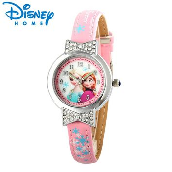Disney Cartoon Children Watches Girls Quartz Watch Top Brand Frozen PU Leather Watchband Fashion Girls Frozen Watch Dropshipping