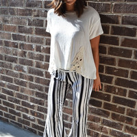 Stripe Bell Bottom Pants