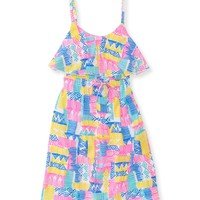 PS from Aero Girls Geo Dress - Blue/Pink/Yellow,