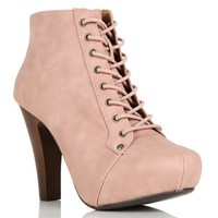Blush Lace Up Hidden Platforms