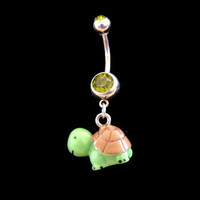Turtle Belly Ring with Green Rhinestone Body Jewelry