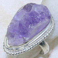 Magical Purple Druzy Silver Ring (10.5)
