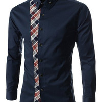 Cadet Blue Turn-down Collar Checked Print Long Sleeves Shirt