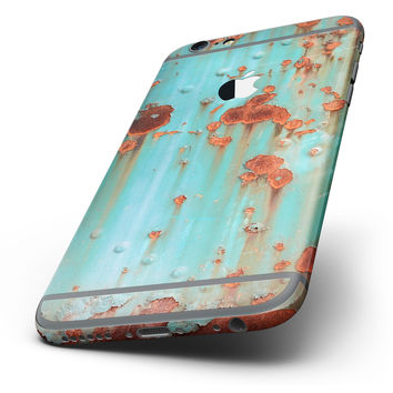 The Teal Painted Rustic Metal Six-Piece Skin Kit for the iPhone 6/6s or 6/6s Plus