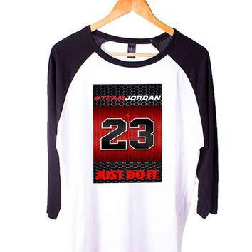 Michael Jordan Nba Chicago Bulls Short Sleeve Raglan - White Red - White Blue - White