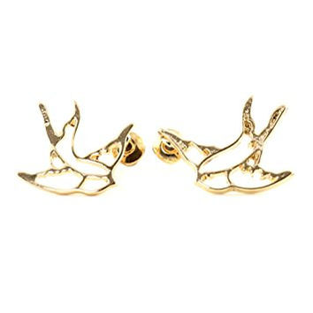 Sparrow Outline Stud Earrings Gold Tone EJ32 Bird Fashion Jewelry
