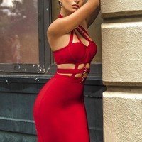 Celina Hot Red Buckle Choker Cutout Bandage Dress