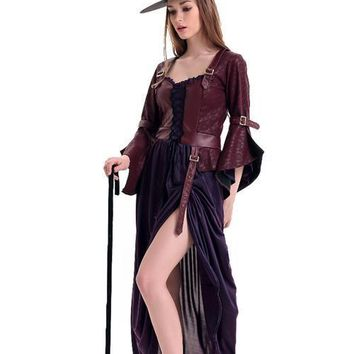 Evil Maleficent Long Horn Sleeve Salem Witch Fancy Dress Costumes
