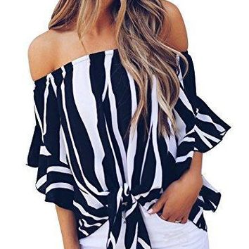 FARYSAYS Women's Striped 3/4 Bell Sleeve Off Shoulder Front Tie Knot T-Shirt Tops Blouse Small