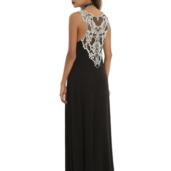 Black & White Crochet Scorpion Back Maxi Dress