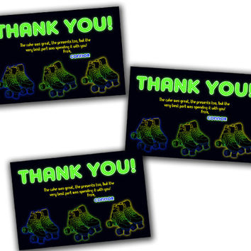Boy Skate Party Thank You Card - Glow Green Skating Party Favor Tags - Boys Roller Skate Thank You Tags - Boy Fast Personalized Birthday