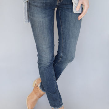 Dark Wash Frayed Hem Jeans